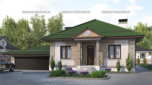 проект одноэтажного дома, с тремя спальнями, с пристроенным гаражом на 2 машины, с барбекю на террасе