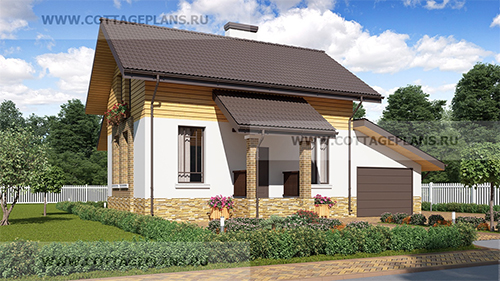 проект двухэтажного дома, с мансардой, с четырьмя спальнями, с пристроенным гаражом на 1 машину