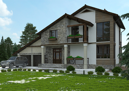 проект двухэтажного дома в стиле шале с мансардой, с пристроенным гаражом на 2 машины