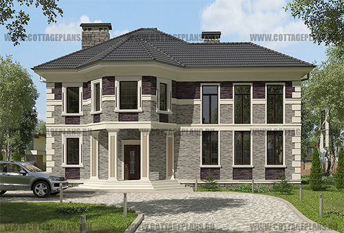 проект двухэтажного дома, с полноценным вторым этажом, с четырьмя спальнями, со вторым светом, с цокольным этажом