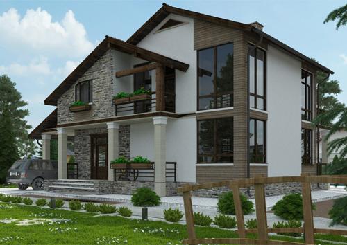 проект двухэтажного дома с мансардой, с пятью спальнями, с навесом для одной машины