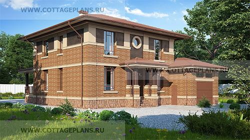 проект двухэтажного дома, с полноценным вторым этажом, с пятью спальнями, со вторым светом, с пристроенным гаражом на 1 машину