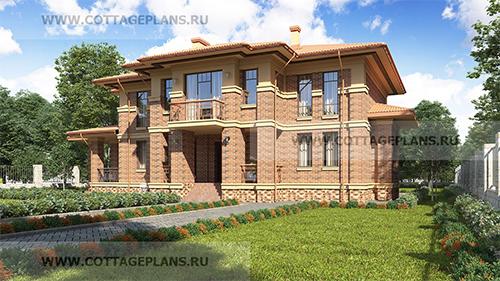 Проект двухэтажного дома со вторым светом и панорамным остеклением с барбекю на террасе
