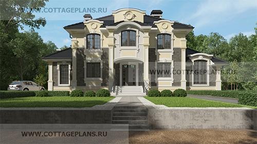 Проект двухэтажного дома, с полноценным вторым этажом, с шестью спальнями, с цокольным этажом, с барбекю на террасе