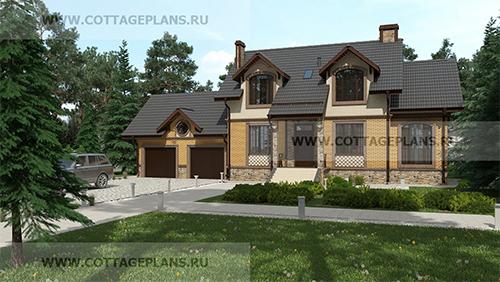 проект двухэтажного дома, с мансардой, с четырьмя спальнями, с цокольным этажом, с пристроенным гаражом на 2 машины
