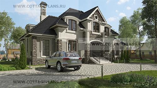 проект двухэтажного дома, с мансардой, с шестью спальнями, с барбекю на террасе