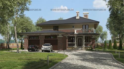 проект двухэтажного дома с с пристроенным перед домом гаражом на 2 машины