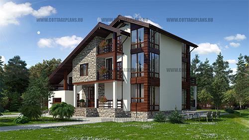 94-49 проект трехэтажного дома в стиле Шале, со встроенным гаражом на 1 машину
