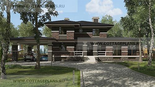 проект двухэтажного дома, с полноценным вторым этажом, с четырьмя спальнями, со вторым светом, с цокольным этажом, с навесом на 2 машины