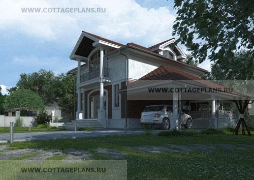 проект двухэтажного дома, с мансардным этажом, с пятью спальнями, с навесом для одной машины