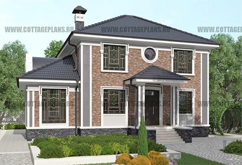 проект двухэтажного дома, с полноценным вторым этажом, с пятью спальнями, с камином, с барбекю на террасе