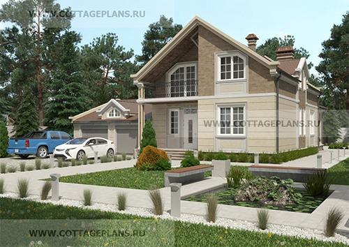 проект мансардного дома из пеноблоков с гаражом на 2 машины и террасой.