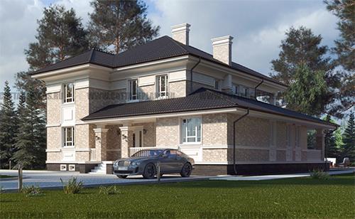 проект двухэтажного дома, с полноценным вторым этажом, с семью спальнями