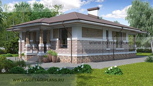 проект компактного одноэтажного дома, с двумя спальнями, с барбекю на террасе