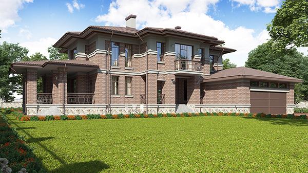 проект двухэтажного дома со вторым светом и гаражом на 2 машины
