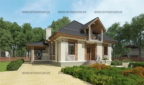проект дома с мансардой со вторым светом, 5-ю спальнями и барбекю на террасе.