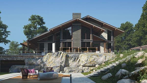 проект дома в стиле шале с панорамным остеклением и вторым светом