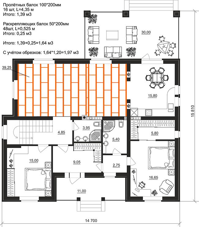 План раскладки деревянных балок 100х200