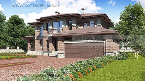 проект двухэтажного дома с полноценным вторым этажом, с пристроенным гаражом на две машины, с цокольным этажом, с барбекю на террасе