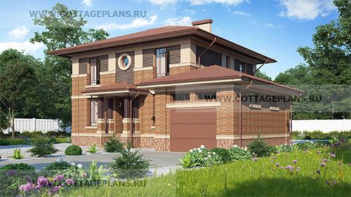 проект двухэтажного дома, с 5-ю спальнями, с полноценным вторым этажом, с пристроенным гаражом на 1 машину