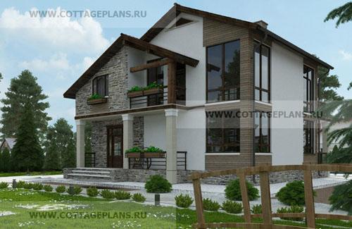 проект двухэтажного дома в стиле шале, с мансардой, со пятью спальнями
