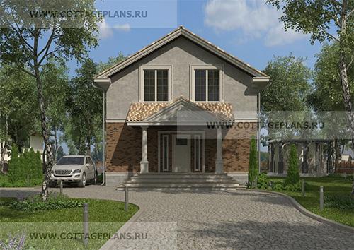 Проект двухэтажного дома из газосиликатных блоков с мансардой, с двумя спальнями