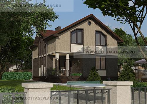 проект двухэтажного дома, с мансардой, с пятью спальнями