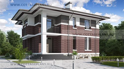 проект двухэтажного дома, с полноценным вторым этажом, с семью спальнями, с цокольным этажом