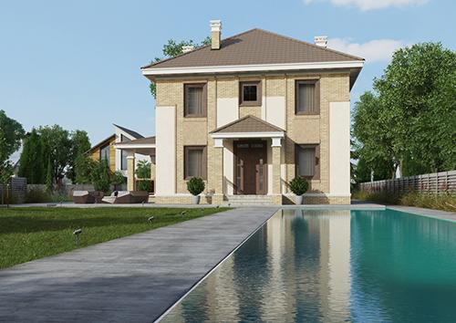 проект двухэтажного дома, с полноценным вторым этажом, с четырьмя спальнями, с цокольным этажом