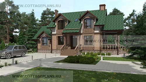 проект двухэтажного дома, с мансардой, с четырьмя спальнями, сауной на первом этаже и террасой