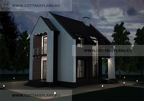 проект двухэтажного дома, с мансардой, с четырьмя спальнями