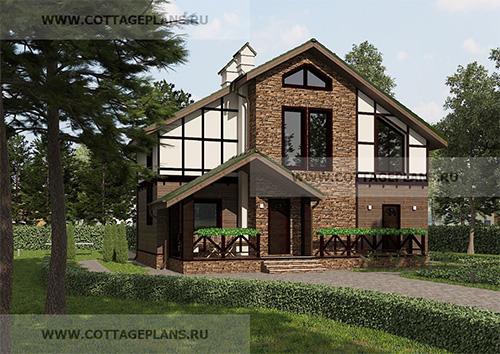 Проект двухэтажного дома в стиле шале, с мансардой, с четырьмя спальнями, с барбекю на террасе