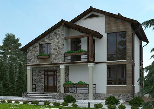 проект двухэтажного дома с мансардой, с четырьмя спальнями, с цокольным этажом