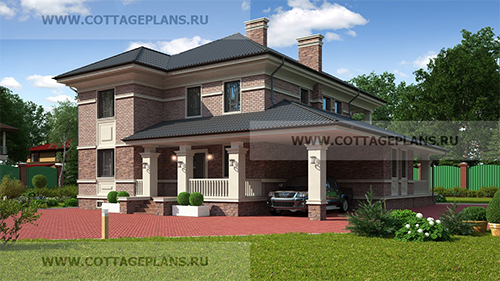 проект двухэтажного дома, с полноценным вторым этажом, с пятью спальнями, с навесом на 1 машину