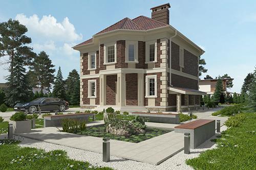 проект двухэтажного дома, с полноценным вторым этажом, с пятью спальнями, с цокольным этажом, с барбекю на террасе