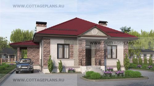 Проект одноэтажного дома с барбекю на террасе