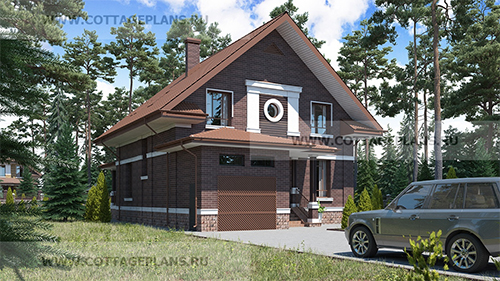 проект компактного дома с мансардной крышей, встроенным гаражом на одну машину, вторым светом и террасой