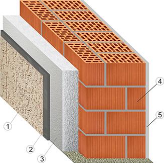 кладка стены из двойного щелевого кирпича с утеплителем