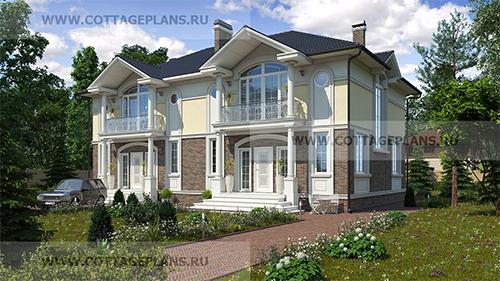 проект двухэтажного дома на 2 семьи в классическом стиле