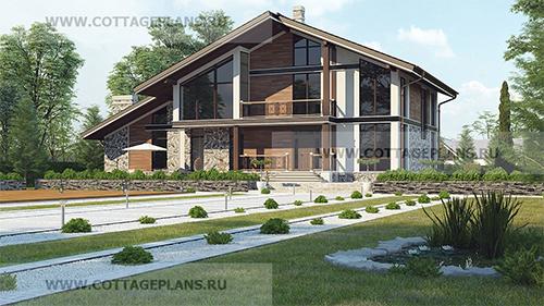 проект двухэтажного дома в стиле шале, с полноценным вторым этажом, с пятью спальнями, со вторым светом, с цокольным этажом, с барбекю на террасе