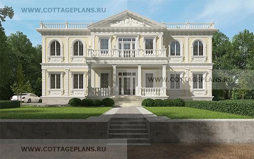 проект элитного двухэтажного дома, с полноценным вторым этажом, с пятью спальнями, со вторым светом