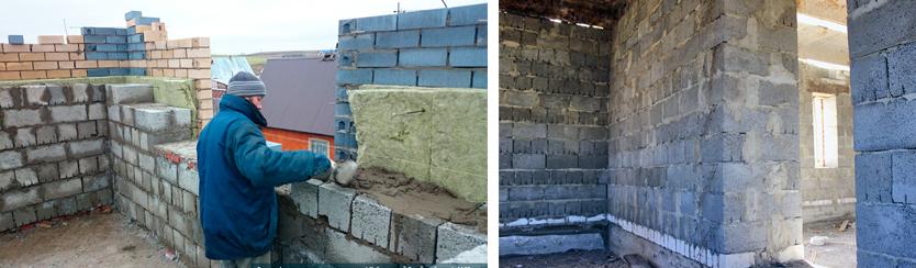 внешняя стена из полистиролбетонных блоков 400мм с утеплением 50мм и облицовкой кирпичом