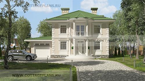 проект двухэтажного дома, с полноценным вторым этажом, со вторым светом, с цокольным этажом, с пристроенным гаражом на 1 машину